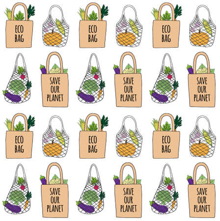 Vector seamless pattern of different hand drawn doodle sketch colored eco bags with food products isolated on white background 免版税图像