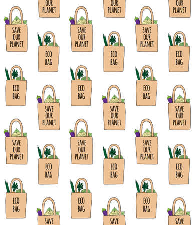 Vector seamless pattern of hand drawn doodle sketch colored eco bag with vegetables and lettering isolated on white background