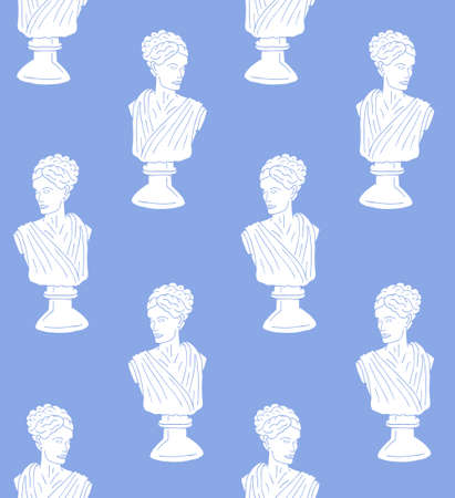 Vector seamless pattern of white hand drawn doodle sketch antique woman bust statue isolated on blue background
