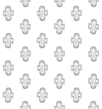 Vector seamless pattern of hand drawn doodle sketch menstrual pad napkin isolated on white background 矢量图像