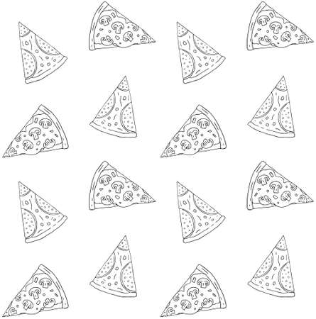 Vector seamless pattern of hand drawn doodle sketch pepperoni and mushroom pizza slice isolated on white background 矢量图像