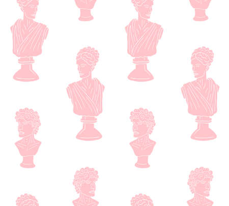 Vector seamless pattern of hand drawn doodle sketch pink antique man and woman bust statue isolated on white background