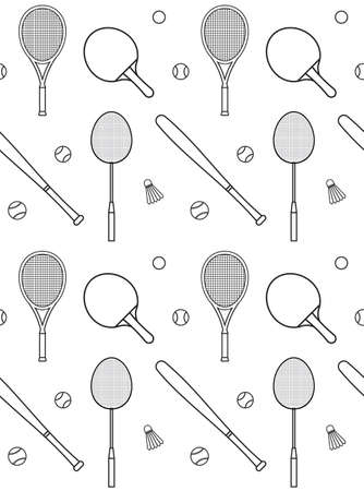 Vector seamless pattern of flat outline different sport equipment isolated on white background 矢量图像