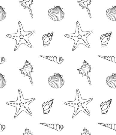 Vector seamless pattern of hand drawn doodle sketch shell and sea stars isolated on white background 矢量图像