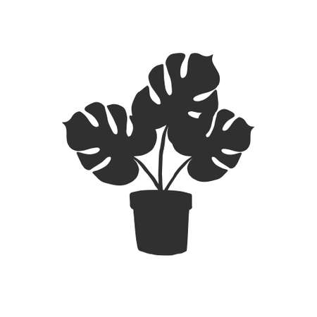 Vector black hand drawn monstera in pot silhouette isolated on white background