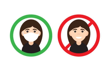 Vector flat cartoon No entry without medical face mask signs. Two Woman girl in circle isolated on white background