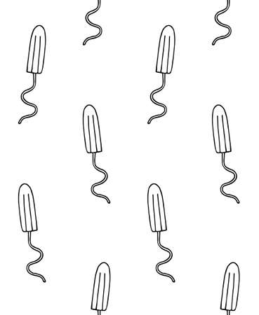 Vector seamless pattern of hand drawn doodle sketch menstrual tampon isolated on white background 矢量图像