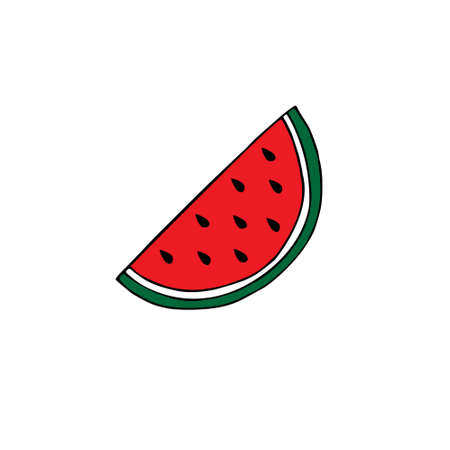Vector hand drawn doodle sketch colored watermelon slice isolated on white background
