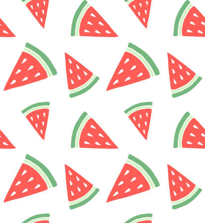 Vector seamless pattern of hand drawn doodle sketch colored watermelon slice isolated on white background 矢量图像