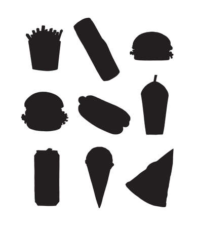 Vector set bundle of hand drawn fast food silhouette isolated on white background 矢量图像