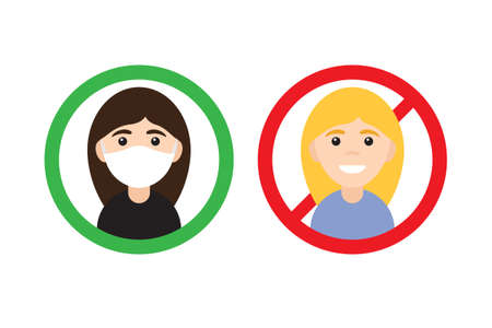 Vector flat cartoon No entry without medical face mask signs. Two different Woman girl in circle isolated on white background 矢量图像