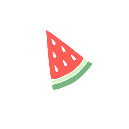 Vector color hand drawn doodle sketch watermelon slice isolated on white background 矢量图像