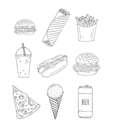 Vector set bundle of hand drawn doodle sketch fast food isolated on white background