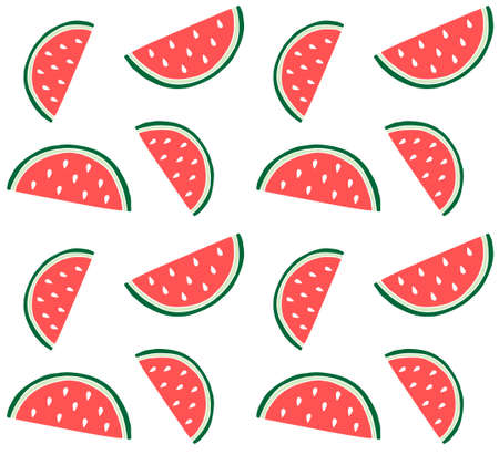 Vector seamless pattern of colored hand drawn doodle sketch watermelon slice isolated on white background