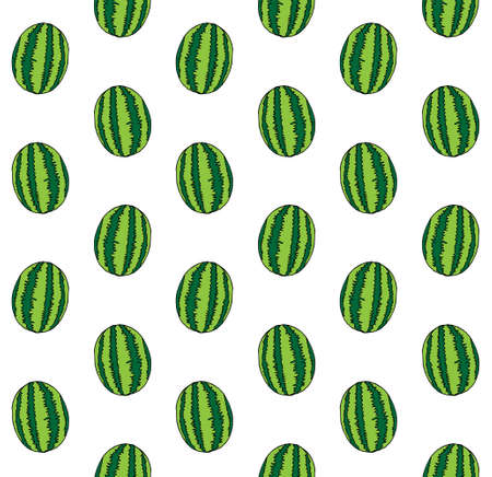 Vector seamless pattern of hand drawn doodle sketch watermelon isolated on white background 矢量图像