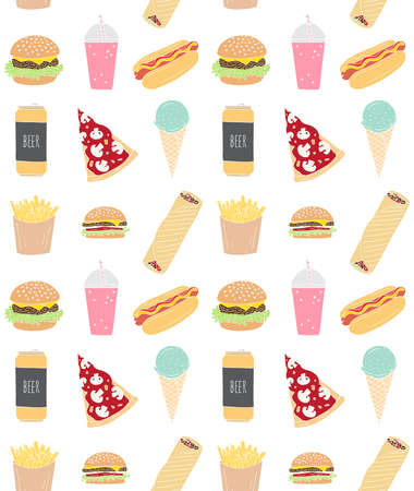Vector seamless pattern of different colored hand drawn doodle sketch fast food isolated on white background