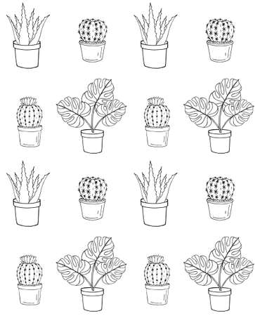 Vector  pattern of hand drawn doodle sketch monstera plant and cactus in pots isolated on white background 矢量图像