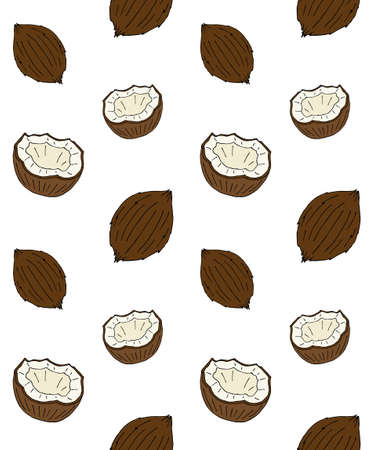 Vector seamless pattern of hand drawn doodle sketch colored coconut isolated on white background