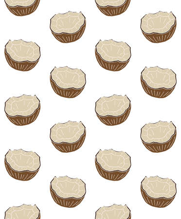 Vector seamless pattern of hand drawn doodle sketch colored half cut coconut isolated on white background
