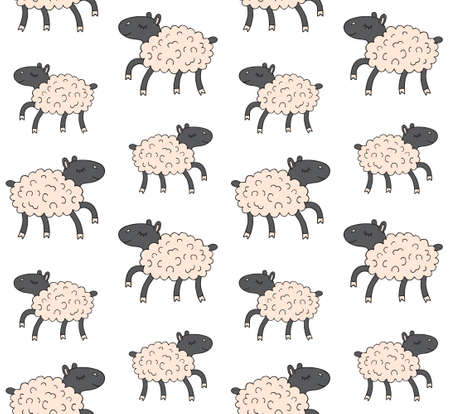 Vector seamless pattern of hand drawn doodle sketch colored running sheep isolated on white background