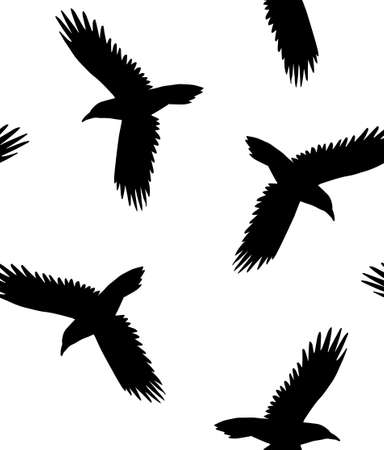 Vector seamless pattern of hand drawn flying raven silhouette isolated on white background