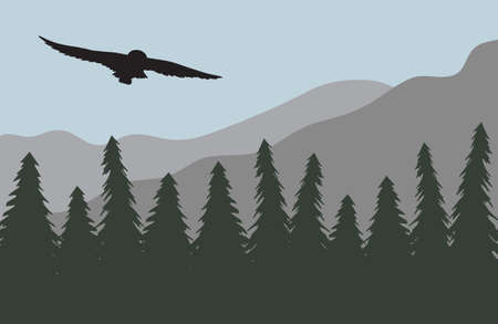 Vector owl silhouette isolated on flat cartoon landscape with spruce tree forest and mountains 矢量图像