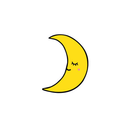 Vector hand drawn doodle sketch yellow moon with face isolated on white background