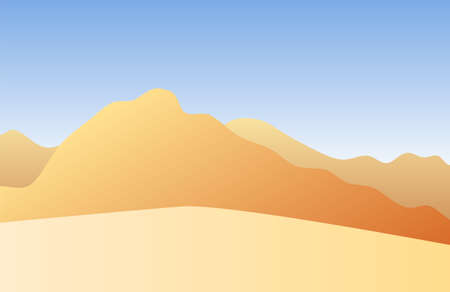 Vector colored flat landscape with sand and mountains 矢量图像