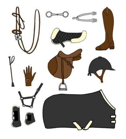 Vector set bundle of different colored hand drawn doodle sketch horse riding equestrian equipment isolated on white background