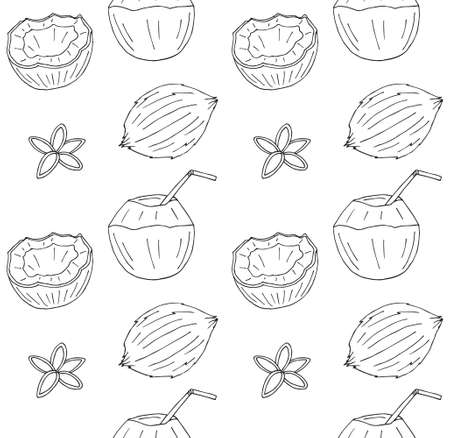 Vector seamless pattern of hand drawn doodle sketch different coconut isolated on white background 矢量图像