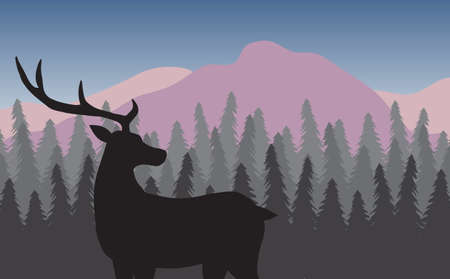 Vector black deer silhouette in colored flat landscape with spruce tree forest and mountains 矢量图像