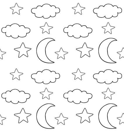 Vector seamless pattern of hand drawn doodle sketch clouds stars and moon isolated on white background