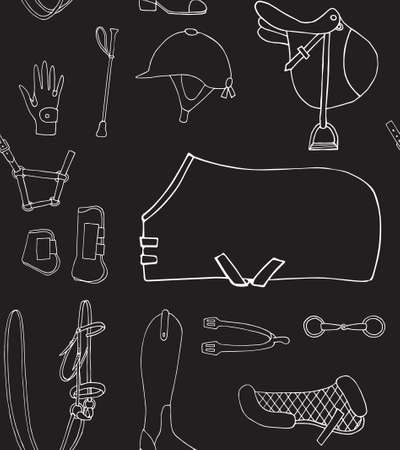Vector seamless pattern of chalk hand drawn doodle sketch horse riding equestrian equipment isolated on black background Illusztráció