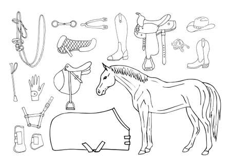 Vector set bundle of hand drawn doodle sketch horse riding equestrian equipment isolated on white background