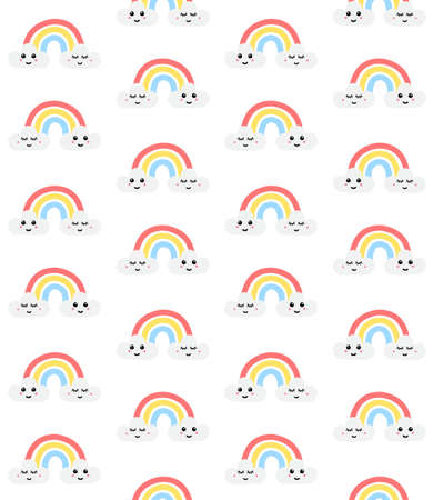 Vector seamless pattern of hand drawn doodle sketch rainbow with kawaii face isolated on white background 矢量图像