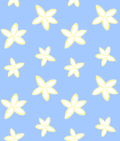 Vector seamless pattern of colored hand drawn doodle sketch coconut flower isolated on blue background 矢量图像