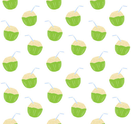 Vector seamless pattern of hand drawn doodle sketch colored young coconut isolated on white background