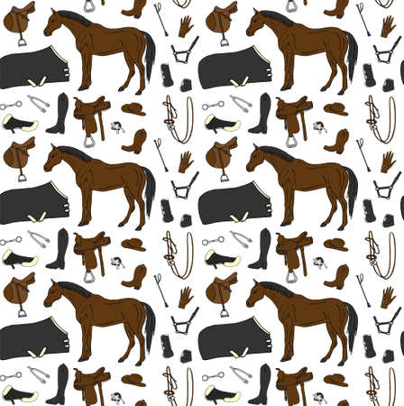 Vector seamless pattern of colored hand drawn doodle sketch horse riding equestrian equipment isolated on white background Illusztráció