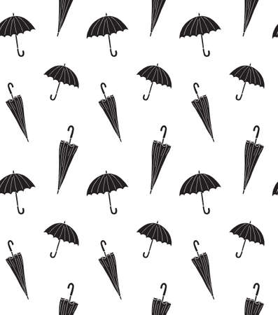 Vector seamless pattern of black different hand drawn doodle sketch umbrella isolated on white background