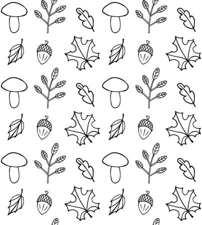 Vector seamless pattern of hand drawn doodle sketch autumn leaves mushroom and acorn isolated on white background