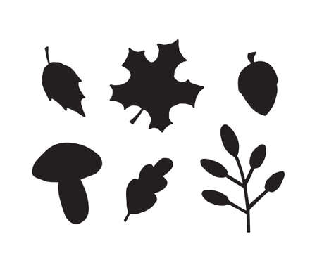 Vector set bundle of hand drawn doodle autumn leaves acorn and mushroom silhouette isolated on white background 矢量图像