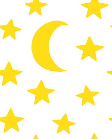Vector seamless pattern of hand drawn doodle sketch stars and moon isolated on white background 矢量图像
