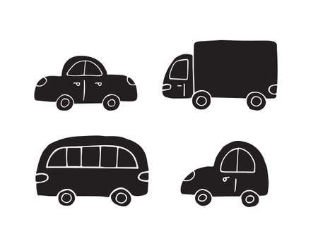 Vector set bundle of black hand drawn doodle sketch car isolated on white background