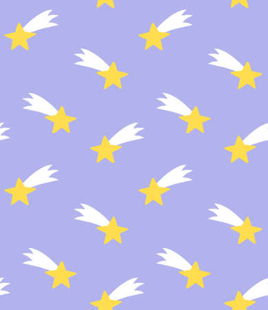 Vector seamless pattern of hand drawn doodle sketch colored flying star isolated on pastel blue background