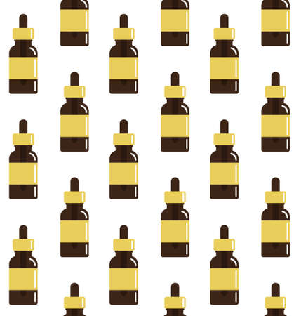Vector seamless pattern of flat cartoon oil essence bottle isolated on white background 矢量图像