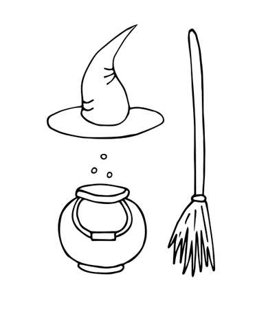 Vector set bundle of hand drawn doodle sketch witch hat bowl and broom isolated on white background