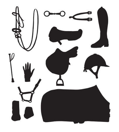Vector set bundle of black hand drawn horse riding equestrian equipment silhouette isolated on white background 矢量图像