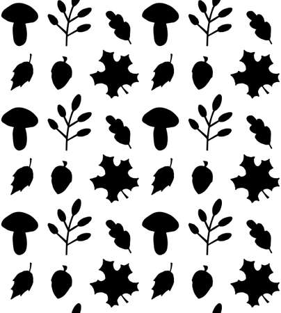 Vector seamless pattern of black hand drawn doodle autumn leaves mushroom and acorn silhouette isolated on white background