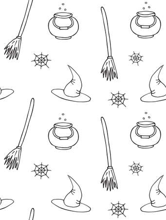 Vector seamless pattern of hand drawn doodle sketch witch hat bowl and broom isolated on white background