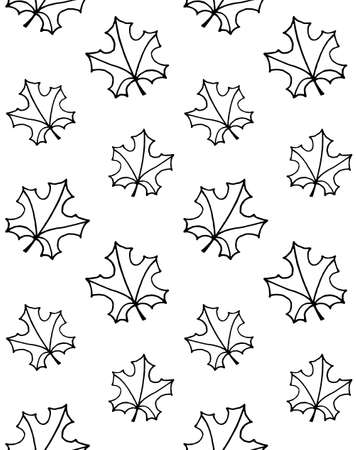 Vector seamless pattern of hand drawn doodle sketch maple leaf isolated on white background